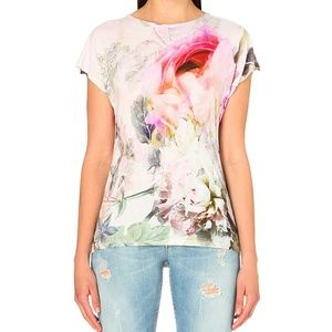 Ted Baker Floral Top Jersey Tee Shirt with Flowers